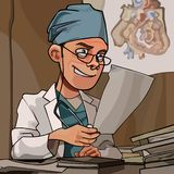 Beeldverhaalmens in artsenkleren die in zijn bureau werken royalty-vrije illustratie
