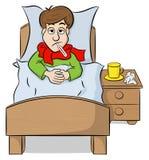 Beeldverhaalmens die in bed met koorts liggen royalty-vrije illustratie