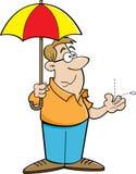 Beeldverhaalmens die een paraplu houden vector illustratie