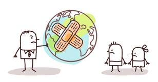 Beeldverhaalmens die een zieke planeet geven aan zijn kinderen vector illustratie