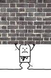 Beeldverhaalmens die en wordt verpletterd zich onder een muur bevinden die Stock Afbeeldingen
