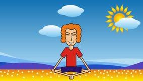 Beeldverhaalmens die op het strand tegen de achtergrond van het overzees, de wolken en de zon mediteren stock videobeelden
