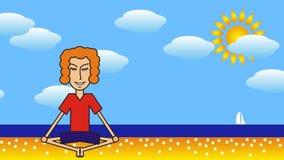 Beeldverhaalmens die op het strand tegen de achtergrond van het overzees, de wolken en de zon mediteren stock video