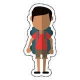 Beeldverhaalmens die plotseling met rugzakreis dragen stock illustratie