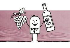 Beeldverhaalmens met druif en wijnfles vector illustratie