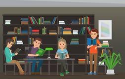 Beeldverhaalmensen Boeken worden gelezen bij Bibliotheek die Bibliotheekzaal royalty-vrije illustratie