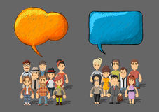 Beeldverhaalmensen die door toespraakbellen spreken vector illustratie