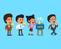 Beeldverhaalmensen die stemmingsdocument in de stembus zetten royalty-vrije illustratie