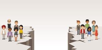 Beeldverhaalmensen door gebarsten vloer worden gescheiden die kloof vector illustratie