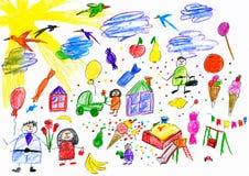Beeldverhaalmensen en grappige stuk speelgoed inzameling, kinderen die voorwerp trekken op document, hand getrokken kunstbeeld Stock Afbeelding