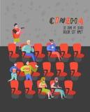 Beeldverhaalmensen met Popcorn en Soda het Letten op Film in de Affiche van Bioskoopzetels Man en Vrouwenkarakters in 3d Glazen Stock Illustratie