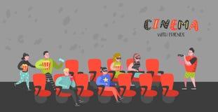 Beeldverhaalmensen met Popcorn en Soda het Letten op Film in de Affiche van Bioskoopzetels Man en Vrouwenkarakters in 3d Glazen Royalty-vrije Illustratie