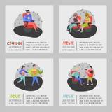 Beeldverhaalmensen met Popcorn en Soda het Letten op Film in de Affiche van Bioskoopzetels Man en Vrouwenkarakters in 3d Glazen Vector Illustratie