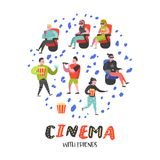 Beeldverhaalmensen met Popcorn en Soda het Letten op Film in de Bioskoop Man en Vrouwenkarakters in 3d Glazen Stock Illustratie