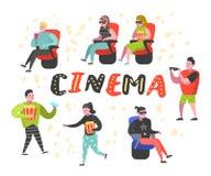 Beeldverhaalmensen met Popcorn en Soda het Letten op Film in de Bioskoop Man en Vrouwenkarakters in 3d Glazen Royalty-vrije Illustratie