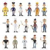 Beeldverhaalmensen van 16 verschillende beroepen Royalty-vrije Stock Afbeeldingen