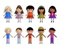 Beeldverhaalmensen van verschillende nationaliteiten, vector stock illustratie
