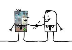 Beeldverhaalmensen - zakenman en robothanddruk Stock Afbeeldingen