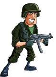 Beeldverhaalmilitair met submachinegeweer Royalty-vrije Stock Foto