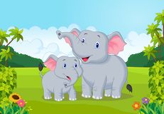 Beeldverhaalmoeder en babyolifant Stock Fotografie