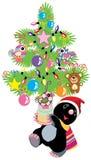 Beeldverhaalmol die een Kerstmisboom houden Stock Fotografie