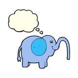 beeldverhaalolifant die water met gedachte bel spuiten Royalty-vrije Stock Foto's