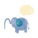 beeldverhaalolifant die water met gedachte bel spuiten Stock Afbeeldingen