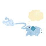 beeldverhaalolifant die water met gedachte bel spuiten Stock Fotografie