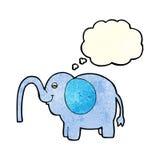 beeldverhaalolifant die water met gedachte bel spuiten Royalty-vrije Stock Afbeeldingen