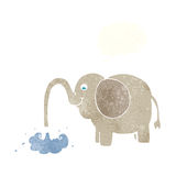beeldverhaalolifant die water met gedachte bel spuiten Stock Afbeelding