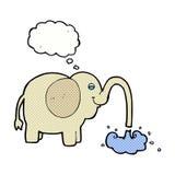beeldverhaalolifant die water met gedachte bel spuiten Royalty-vrije Stock Afbeelding