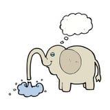 beeldverhaalolifant die water met gedachte bel spuiten Royalty-vrije Stock Foto