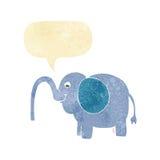 beeldverhaalolifant die water met toespraakbel spuiten Stock Foto's