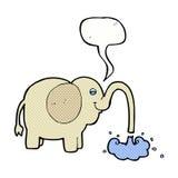 beeldverhaalolifant die water met toespraakbel spuiten Royalty-vrije Stock Foto's