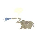 beeldverhaalolifant die water met toespraakbel spuiten Stock Foto