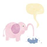 beeldverhaalolifant die water met toespraakbel spuiten Royalty-vrije Stock Foto