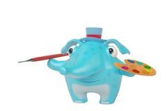 Beeldverhaalolifanten die, 3D illustratie schilderen Royalty-vrije Stock Foto