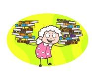 Beeldverhaaloma die Troep van Boeken Vectorillustratie voorstellen royalty-vrije illustratie
