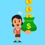 Beeldverhaalonderneemster het verdienen geldmuntstukken Royalty-vrije Stock Afbeelding