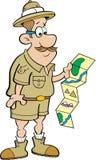 Beeldverhaalontdekkingsreiziger die een kaart bekijken Stock Foto's