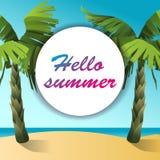 Beeldverhaalpalm op een strand met de inschrijvings hello zomer vector illustratie