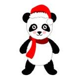Beeldverhaalpanda die Kerstmanhoed draagt Vector illustratie Stock Afbeeldingen