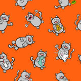 Beeldverhaalpatroon met kattenkarakters stock illustratie