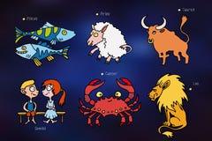 Beeldverhaalpictogrammen met tekens van de dierenriem Royalty-vrije Stock Afbeelding