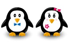 Beeldverhaalpinguïnen, jongen en meisje, vector stock illustratie