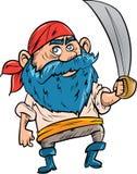 Beeldverhaalpiraat met blauwe baard Royalty-vrije Stock Foto