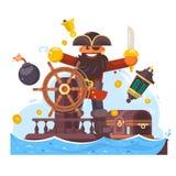 Beeldverhaalpiraat met zwaard en haak op schip Vector illustratie Stock Fotografie