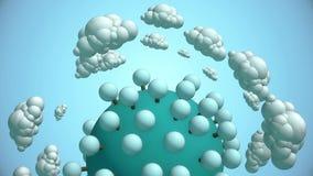 Beeldverhaalplaneet met boom en vliegende wolken stock videobeelden