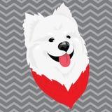 Beeldverhaalportret van een hond in een sjaal Kerstmis leuke hond Het symbool van het jaar Vectorillustratie voor een groet vector illustratie