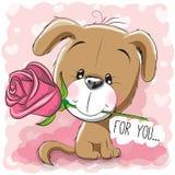 Beeldverhaalpuppy met bloem op een roze achtergrond stock illustratie